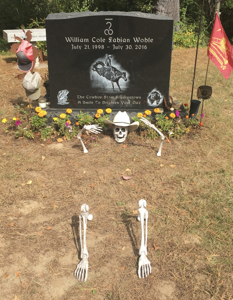 Christina Wohle placed the skeleton in front of her son's grave; only the skull remains. (Photo: Christina Wohle)