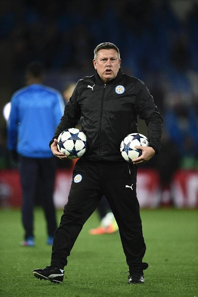 Leicester City's manager Craig Shakespeare attends the warm-up session ahead of their UEFA Champions Champions League round of 16 2nd leg match against Sevilla, at King Power Stadium in Leicester, on March 14, 2017 (AFP Photo/Oli Scarff)