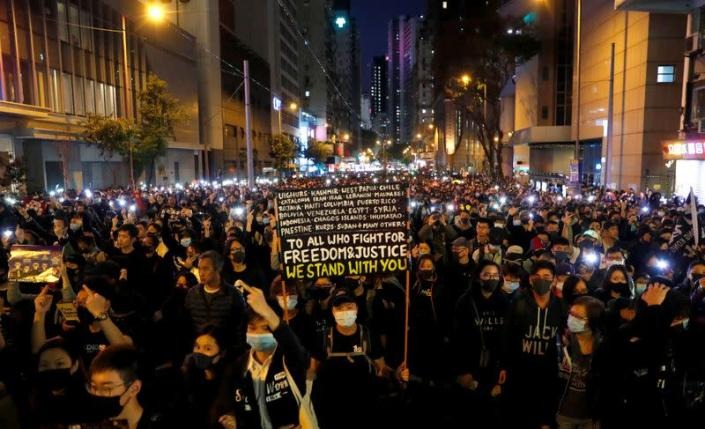 Protesters march for human rights in Hong Kong