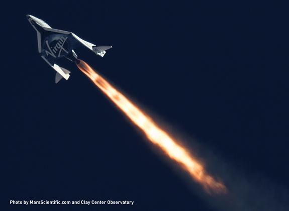 Virgin Galactic's SpaceShipTwo completed its second powered flight on Sept. 5, 2013 over California's Mojave Desert. This image was taken by MARS Scientific as part of the Mobile Aerospace Reconnaissance System optical tracking system.