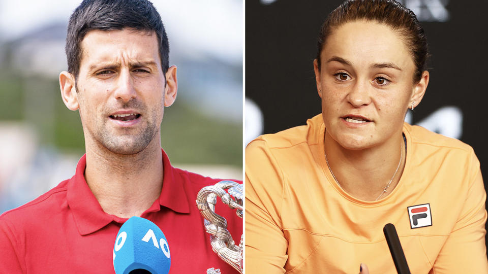 Novak Djokovic and Ash Barty, pictured here speaking to the media.