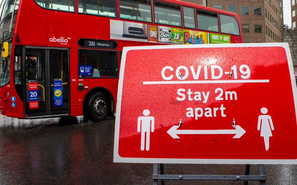 London, UK - June 17th 2020: A sign in central London reminding people follow the social distancing guidelines and stay 2 metres apart from others. - Getty Images