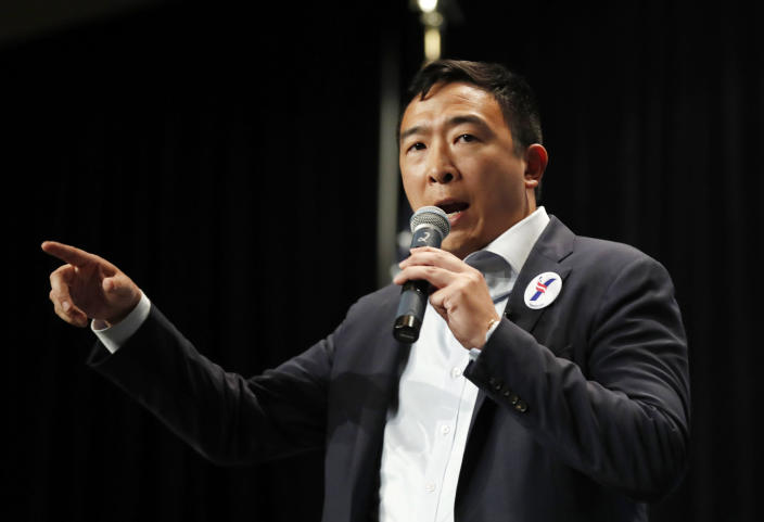 Andrew Yang speaks during the Iowa Democratic Party's Hall of Fame Celebration on June 9 in Cedar Rapids, Iowa. (Photo: Charlie Neibergall/AP)