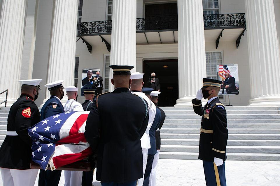 <p>Continuing to follow the Selma to Montgomery National Historic Trail, the procession arrived in Montgomery, Alabama. There, military pallbearers carried Lewis's casket up the steps of the Alabama State Capitol for a ceremony in Lewis's honor. Then, the Congressman lied in state for the remainder of the day. <br></p>