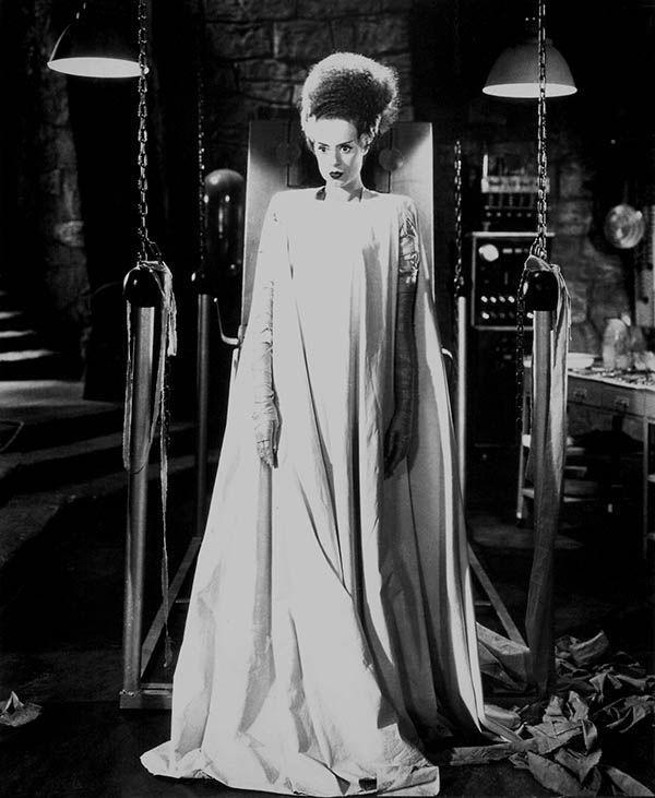 <p>Now that we know how vampires dress to get married, let's look at lab-made monsters, shall we? According to <em>Bride of Frankenstein</em>, lady monsters wear flowing dresses like this one. Noted.</p>