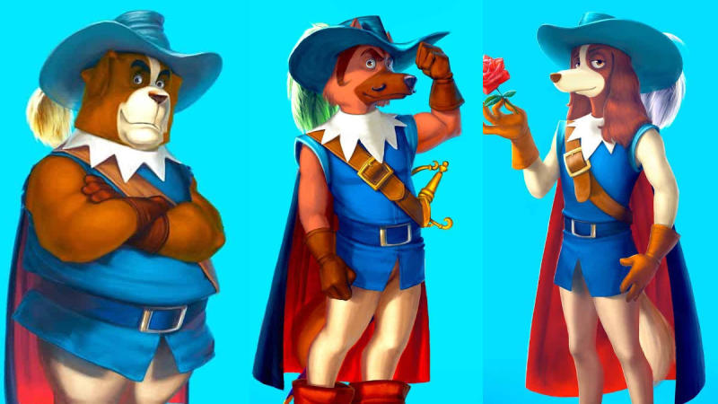 Athos, Porthos and Aramis in 'Dogtanian and the Three Muskehounds'. (Credit: Cosmos-Maya)
