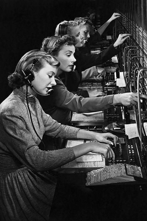 <p>Switchboard operators connected long-distance calls and directed communication before digital exchange switched up the game. By the early 80's the position became obsolete. </p>