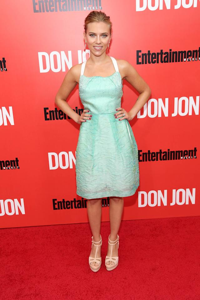 """NEW YORK, NY - SEPTEMBER 12: Scarlett Johansson attends the """"Don Jon"""" New York premiere at SVA Theater on September 12, 2013 in New York City. (Photo by Rob Kim/Getty Images)"""