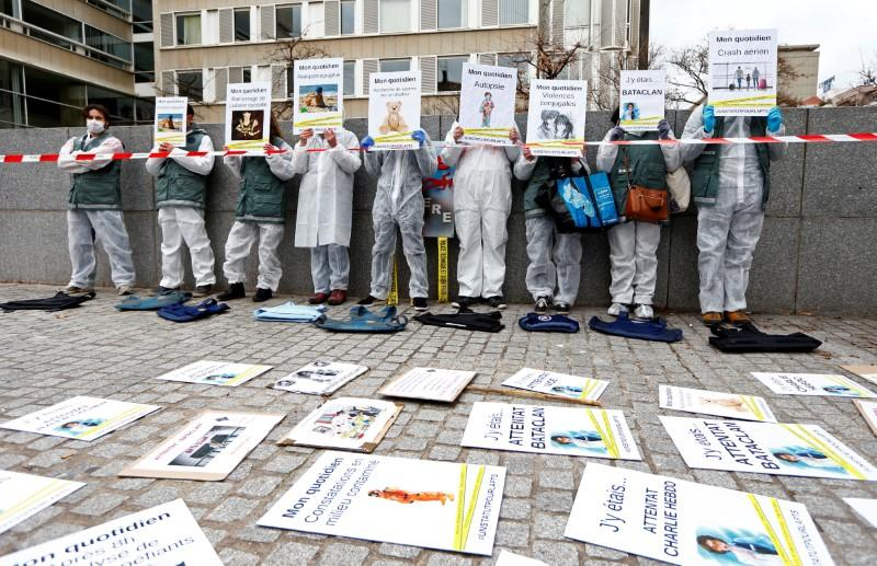 French forensic officers demonstrate in Lyon
