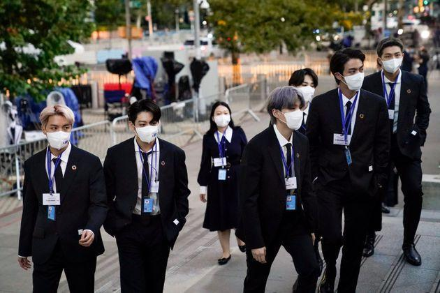 Members of BTS arrive at United Nations headquarters during the 76th Session of the UN General Assembly in New York City. (Photo: Pool via Getty Images)