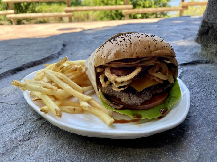 My family's pick for the best burger at Walt Disney World: The Bison Bacon Cheeseburger at Geyser Point Bar and Grill. (Terri Peters)