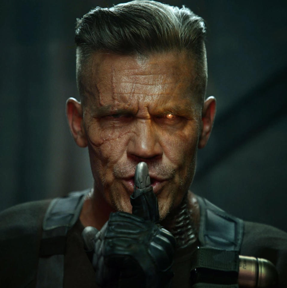 """<p>Our initial glimpse at Josh Brolin as Deadpool's longtime frenemy in the comics, the time-hopping mutant Cable. """"We all have that one, grumpy, heavily armed Uncle from the future. #PremiumCABLE,"""" Reynolds tweeted on Aug. 7. (Credit: <a href=""""https://twitter.com/VancityReynolds/status/894579873301311490"""" rel=""""nofollow noopener"""" target=""""_blank"""" data-ylk=""""slk:Ryan Reynolds/Twitter"""" class=""""link rapid-noclick-resp"""">Ryan Reynolds/Twitter</a>) </p>"""