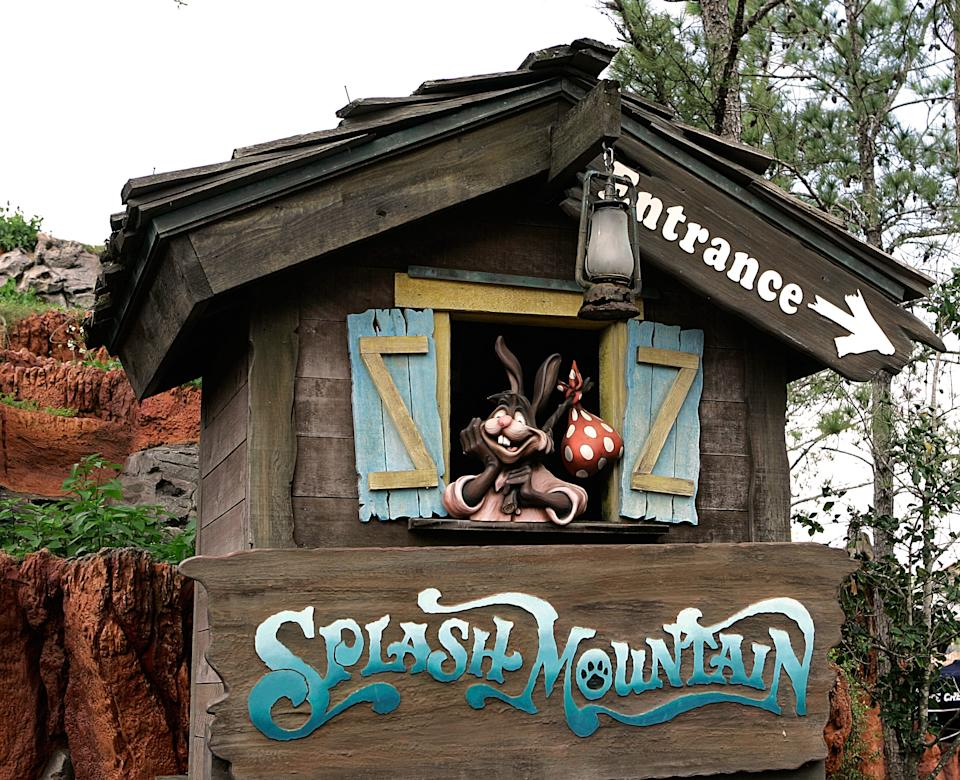 """** ADVANCE FOR WEEKEND OF MARCH 24-25 ** The character Brer Rabbit, from the movie, """"Song of the South,"""" is depicted near the entrance to the Splash Mountain ride in the Magic Kingdom at Walt Disney World in Lake Buena Vista, Fla., Wednesday, March 21, 2007. Walt Disney Co.'s 1940s film """"Song of the South"""" produced one of the brand's most famous songs _ the Oscar-winning """"Zip-a-Dee-Doo-Dah"""" _ and inspired two theme park rides. Each lives on, but the movie remains hidden in the Disney archives, never released on video in the United States and criticized as racist for its depictions of Southern plantation blacks. (AP Photo/John Raoux)"""