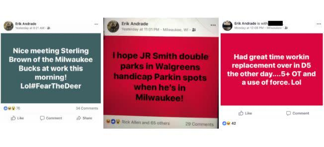 These Facebook posts allegedly by Milwaukee Police Officer Erik Andrade were included in the complaint. (Photo: Gingras Cates and Wachs)
