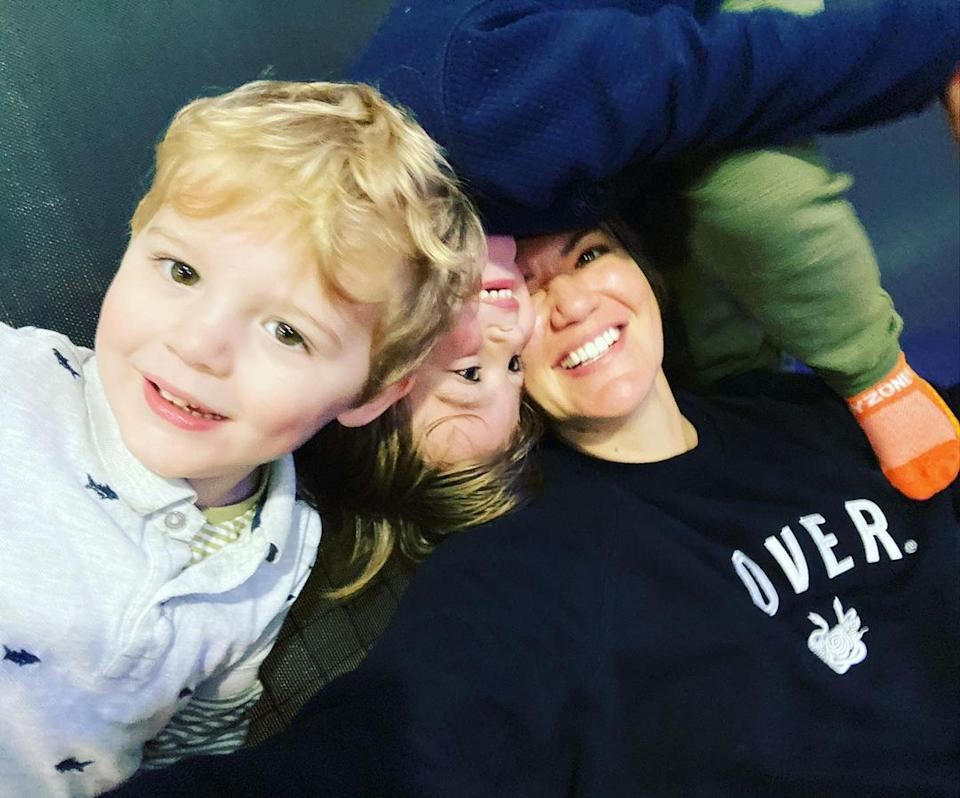 Sarah Harris and her two children