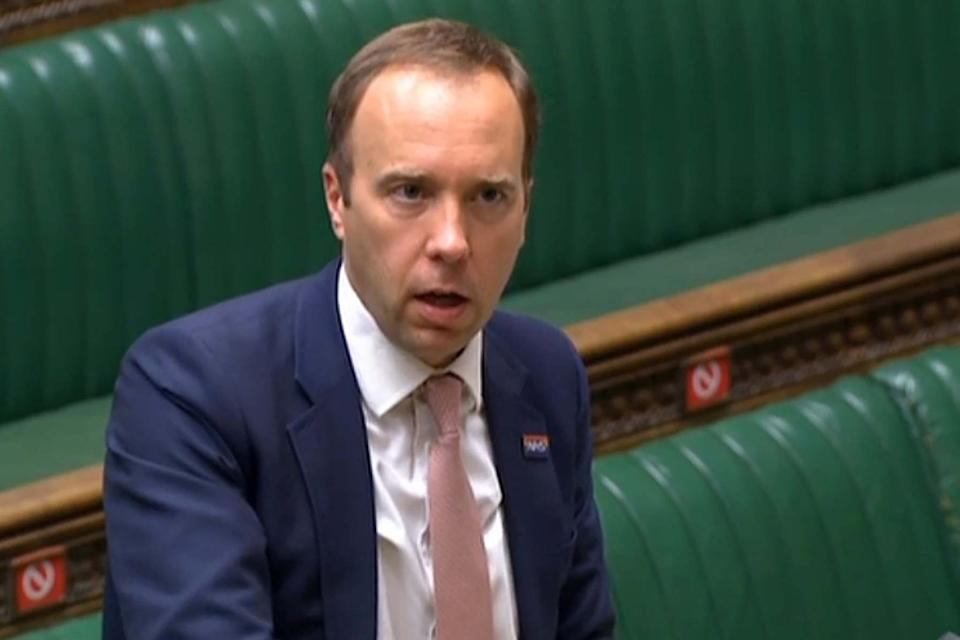 Health Secretary Matt Hancock making a ministerial statement to update the House of Commons (PRU/AFP via Getty Images)