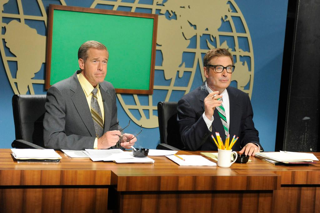 """Brian Williams and Alec Baldwin in the """"Live from Studio 6H"""" episode of """"30 Rock."""""""