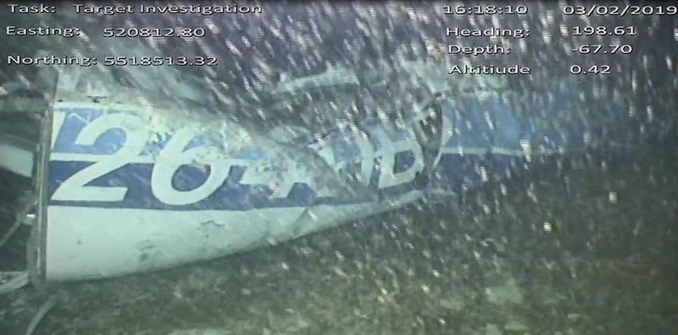 A handout video footage still image released by the UK Air Accidents Investigation Branch (AAIB) shows the rear left side of the fuselage, including part of the aircraft registration (AFP/Getty Images)