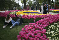 People visit fields of blooming tulips on display in the Emirgan Park in Istanbul, Wednesday, April 28, 2021, a day before the latest lockdown to help protect from the spread of the coronavirus. As cases and deaths soar, Turkey is going into a full lockdown Thursday and last until May 17. Residents will be required to stay home except for grocery shopping and other essential needs, while intercity travel only will be allowed with permission. Restaurants are allowed to deliver food. (AP Photo/Emrah Gurel)