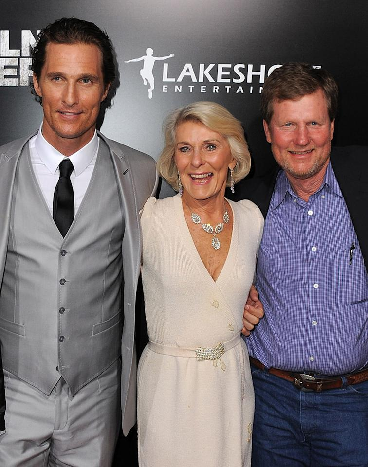 """<a href=""""http://movies.yahoo.com/movie/contributor/1800018907"""">Matthew McConaughey</a> and family at the Los Angeles premiere of <a href=""""http://movies.yahoo.com/movie/1810088161/info"""">The Lincoln Lawyer</a> on March 10, 2011."""