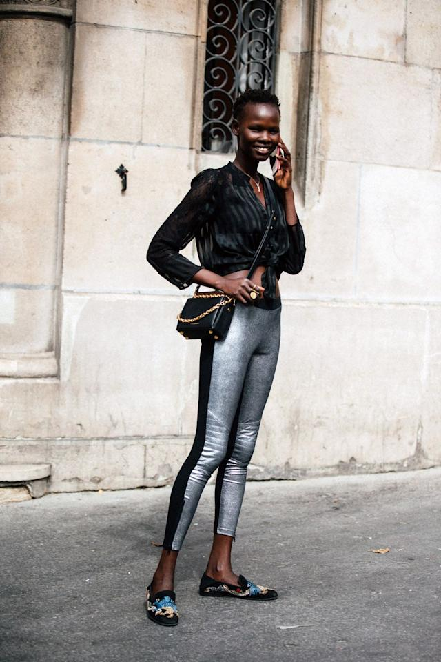 """<p>Metallic liquid leggings will make you stand out from the crowd. They are perfect for a night out, too. Pair with a sheer blouse and tie it at the waist.</p><p><a class=""""body-btn-link"""" href=""""https://www.amazon.com/Leggings-Depot-Liquid-Metallic-Stretch/dp/B07HXTRZP9/ref=sr_1_12?keywords=silver+leggings&qid=1557415015&s=gateway&sr=8-12&tag=syn-yahoo-20&ascsubtag=%5Bartid%7C10065.g.27419195%5Bsrc%7Cyahoo-us"""">SHOP NOW</a></p>"""