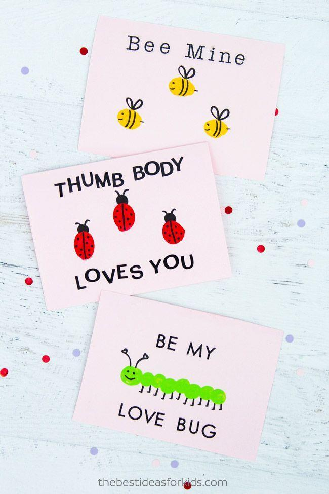"""<p>You only need a few minutes and basic supplies to make these adorable cards to distribute among all your Valentines. Colorful fingerprints make up the bodies of smiling critters like ladybugs, centipedes, and bees.</p><p><em><a href=""""https://www.thebestideasforkids.com/fingerprint-valentine-cards/"""" rel=""""nofollow noopener"""" target=""""_blank"""" data-ylk=""""slk:Get the tutorial at The Best Ideas for Kids »"""" class=""""link rapid-noclick-resp"""">Get the tutorial at The Best Ideas for Kids <em><em>»</em></em></a></em></p>"""