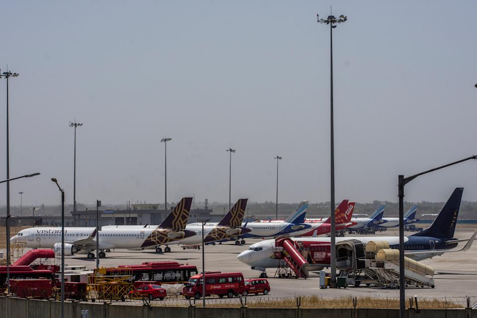 FILE. Aircraft stand at Terminal 3 at the Indira Gandhi International Airport, New Delhi. A passenger was arrested for creating ruckus at the airport after he was denied boarding because he didn't have a Covid-19 test report on him (Getty Images)