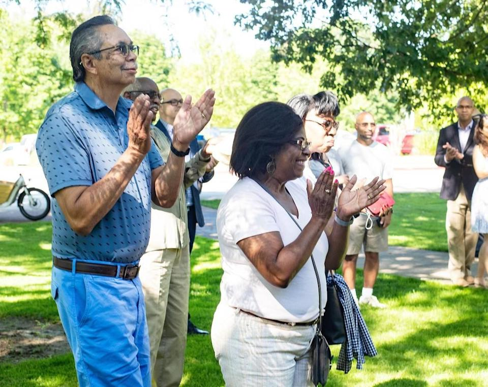 Dennis Patterson and Lavonna Patterson of Boise applaud during a Juneteenth celebration at the Idaho Black History Museum in Boise on Saturday, June 19, 2021. Juneteeth was made a federal holiday this year.