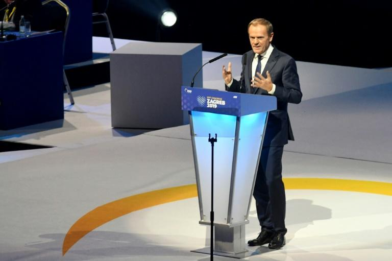 """Former EU Council President Donald Tusk vowed to fight against """"political populists, manipulators and autocrats"""""""