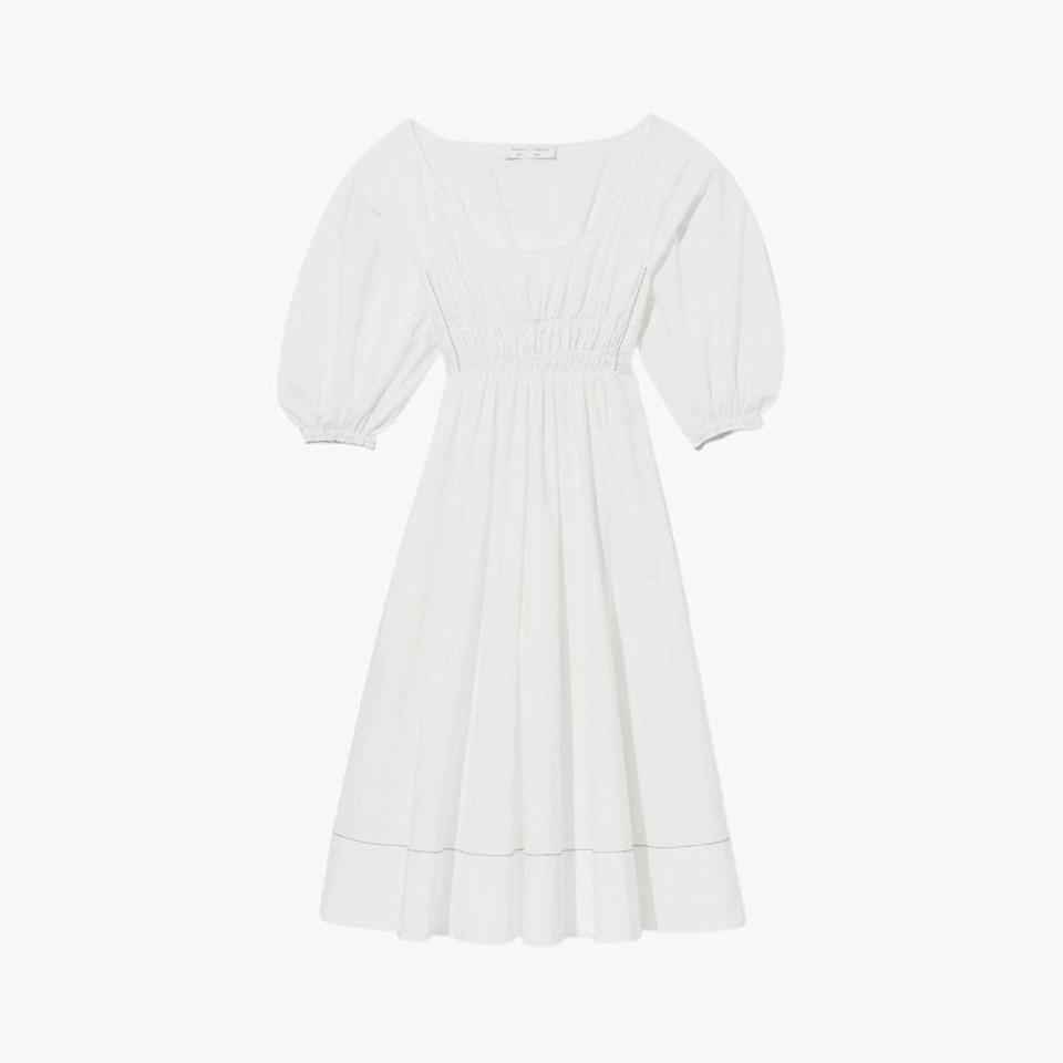 "$495, SAKS FIFTH AVENUE. <a href=""https://www.saksfifthavenue.com/product/proenza-schouler-white-label-poplin-puff-sleeve-dress-0400013628438.html?site_refer=NPLA_GGL_Shopping&country=US&currency=USD"" rel=""nofollow noopener"" target=""_blank"" data-ylk=""slk:Get it now!"" class=""link rapid-noclick-resp"">Get it now!</a>"