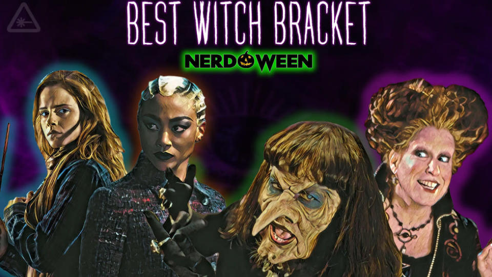 Hermione, Prudence, the Grand High Witch, and Winifred Sanderson in the banner for the Best pop culture witch bracket