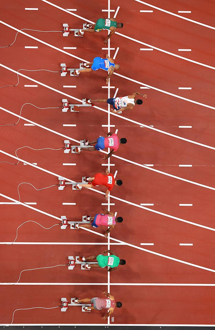 <p>TOKYO, JAPAN - AUGUST 01: Zharnel Hughes of Team Great Britain makes a false start in the Men's 100m Final on day nine of the Tokyo 2020 Olympic Games at Olympic Stadium on August 01, 2021 in Tokyo, Japan. (Photo by Richard Heathcote/Getty Images)</p>