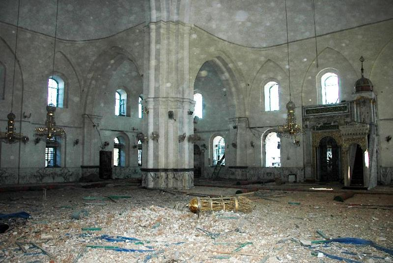 This Saturday, July 27, 2013 photo released by the Syrian official news agency SANA, shows the inside of the Khalid Ibn al-Walid Mosque in the heavily disputed northern neighborhood of Khaldiyeh, in Homs, Syria. Syrian government forces captured a historic mosque in the central city of Homs on Saturday, expelling rebel forces who had been in control of the 13th century landmark for more than a year and dealing a symbolic blow to opposition forces. (AP Photo/SANA)
