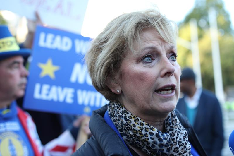 "MP Anna Soubry outside the Houses of Parliament in London ahead of Prime Minister Boris Johnson delivering a statement in the House of Commons on his new Brexit deal after the EU Council summit, on what has been dubbed ""Super Saturday""."