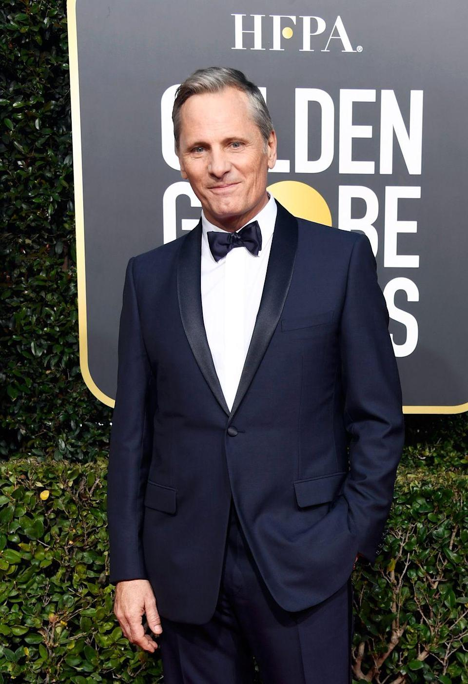 <p>At the 76th Golden Globes, Mortensen looked suave and sophisticated with his graying hair. </p>