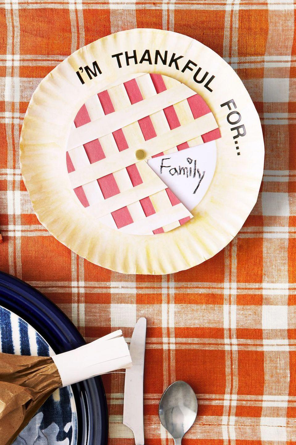 "<p>Kids can give things for family and the things they love with this sweet as pie gratitude chart.<br></p><p><strong>Make the Pie:</strong> Cut out a construction paper circle the same size as the inside of a paper plate. Attach with brass fastener, then remove a ""slice"" of pie. Write ""I'm Thankful for …"" along the top and ask them to add responses as they rotate the ""slice"" around the pie.</p><p><a class=""link rapid-noclick-resp"" href=""https://www.amazon.com/ACCO-Plated-Brass-Fasteners-A7071703B/dp/B002YK4IHA?tag=syn-yahoo-20&ascsubtag=%5Bartid%7C10050.g.22626432%5Bsrc%7Cyahoo-us"" rel=""nofollow noopener"" target=""_blank"" data-ylk=""slk:SHOP BRASS FASTENERS"">SHOP BRASS FASTENERS</a></p>"