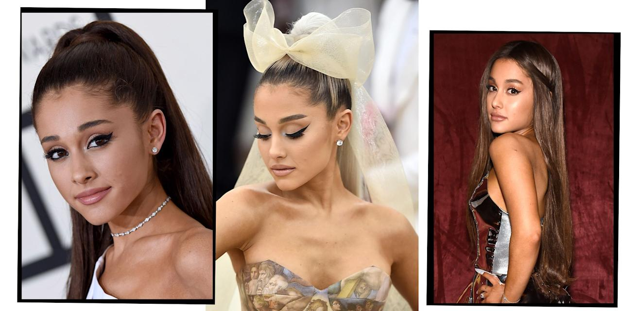 """<p>Whether it's her signature high pony or <a href=""""https://www.elle.com/uk/beauty/hair/a31986331/ariana-grande-natural-hair/"""" target=""""_blank"""">natural caramel curls</a>, Ariana Grande's <a href=""""https://www.elle.com/uk/beauty/hair/"""" target=""""_blank"""">hair</a> is perpetually on point. Kicking off her career way back when with iconically noughties plum red lengths, the 'Thank U, Next' singer has since worked her way through everything from bleached <a href=""""https://www.elle.com/uk/beauty/hair/a37024/blonde-hair-trends/"""" target=""""_blank"""">blonde</a> extensions topped with a tulle bow at the Met Gala, to her, now legendary, poker straight <a href=""""https://www.elle.com/uk/beauty/hair/g14990/ponytail-hairstyles/"""" target=""""_blank"""">ponytail</a>. Not forgetting, Grande's forays into ombre fringes, icy blue wigs and XXL animé-esque pigtails. Whatever hair Ariana Grande's rocking, the fact remains that she always looks epic. Read on for every one of Ariana Grande's outstanding hair looks...</p>"""