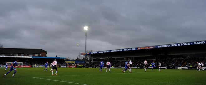 "A general view during the FA Cup football match between Macclesfield Town and Bolton Wanderers at Moss Rose,Macclesfield, north-west England, on January 7, 2012.   RESTRICTED TO EDITORIAL USE. No use with unauthorized audio, video, data, fixture lists, club/league logos or ""live"" services. Online in-match use limited to 45 images, no video emulation. No use in betting, games or single club/league/player publications. (Photo by Andrew Yates. /AFP/Getty Images)"