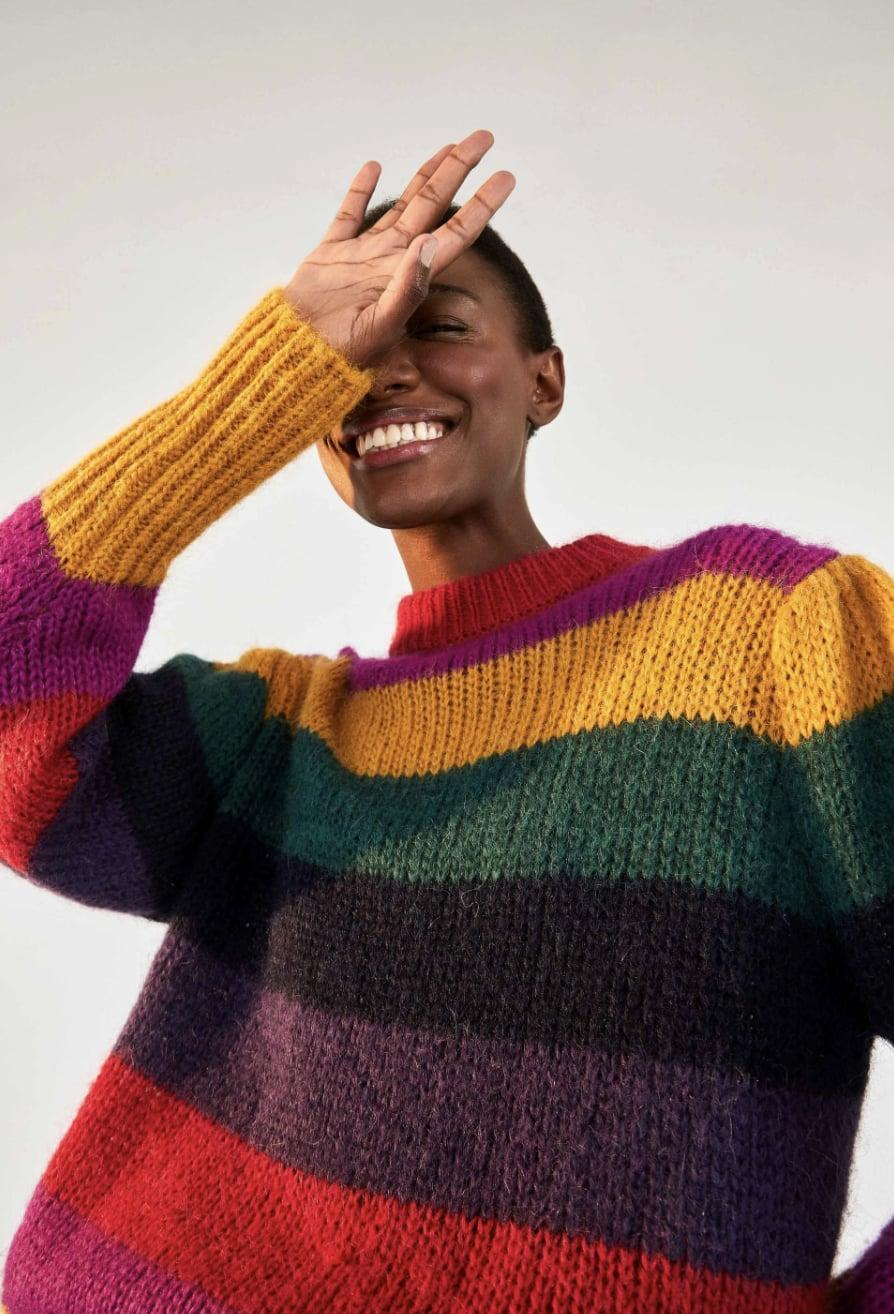 """<p><span>Farm Rio Striped Sweater</span> ($195)</p> <p>""""On gloomy days, I love dressing with a healthy does of color. This rainbow sweater instantly boosts my mood, plus the cozy knit is cold-weather friendly. Pair it with jeans and sneakers, and you're set."""" - Macy Cate Williams, senior editor, shop</p>"""