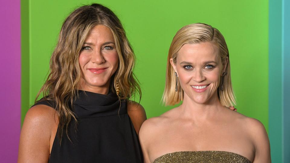 NEW YORK, NY - OCTOBER 28: Actresses Jennifer Aniston and Reese Witherspoon attend Apple TV+'s