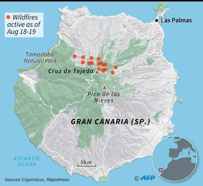 Location of fires active on August 18-19 on the Spanish island of Gran Canaria