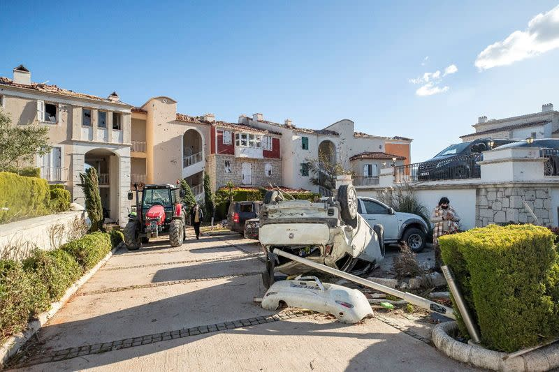 A damaged vehicle is seen after a tornado in the Aegean town of Cesme near Izmir
