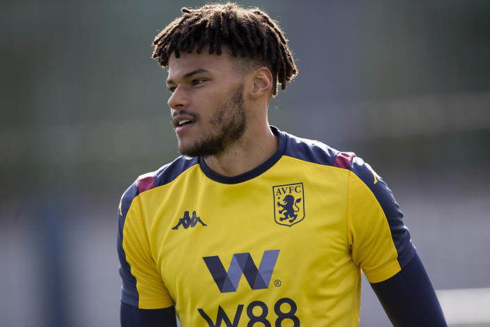 BIRMINGHAM, ENGLAND - MARCH 12: Tyrone Mings of Aston Villa in action during a training session at Bodymoor Heath training ground on March 12, 2020 in Birmingham, England. (Photo by Neville Williams/Aston Villa FC via Getty Images)