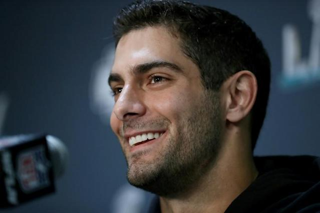 49ers quarterback Jimmy Garoppolo believes his laidback personality brings the best out in his team-mates (AFP Photo/Michael Reaves)