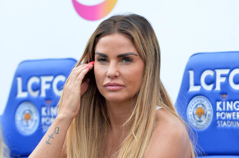 LEICESTER, ENGLAND - May 28: Team manager Katie Price during the Celebrity Charity Football Match at King Power Stadium on May 28 , 2017 in Leicester, United Kingdom. (Photo by Plumb Images/Leicester City FC via Getty Images)