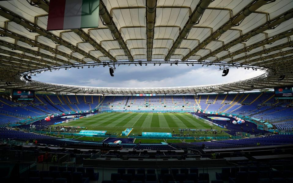 General view inside the stadium before the Euro 2020 soccer championship group A match between Turkey and Italy - AP