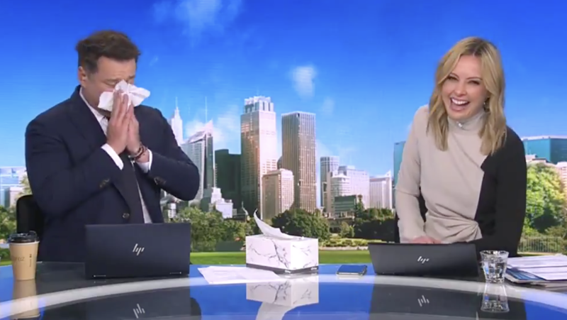 Karl Stefanovic pretending to cry on the Today Show