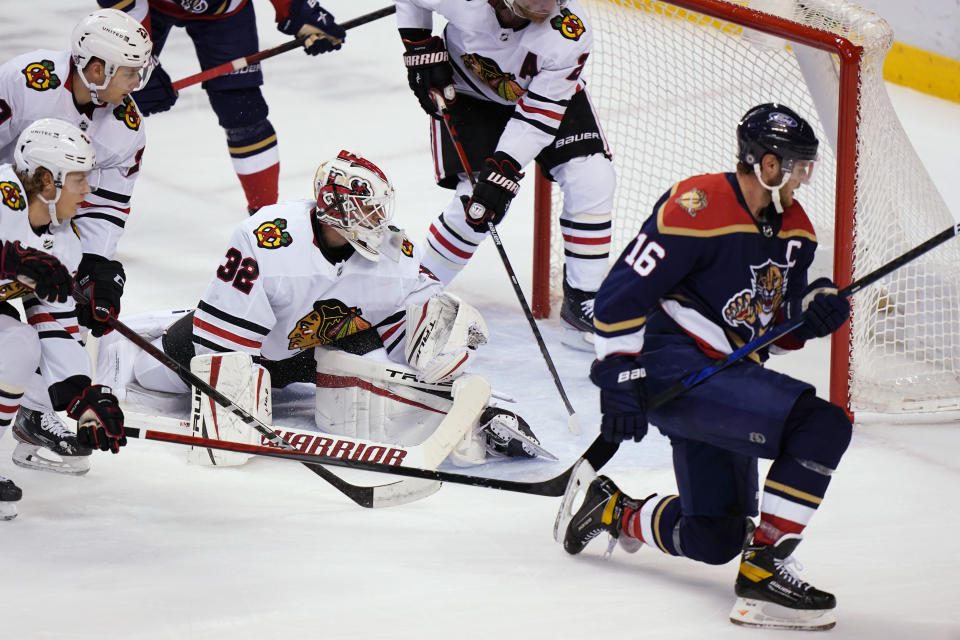 Florida Panthers center Aleksander Barkov (16) celebrates after scoring a goal during the second period of the team's NHL hockey game against the Chicago Blackhawks, Saturday, March 13, 2021, in Sunrise, Fla. (AP Photo/Wilfredo Lee)