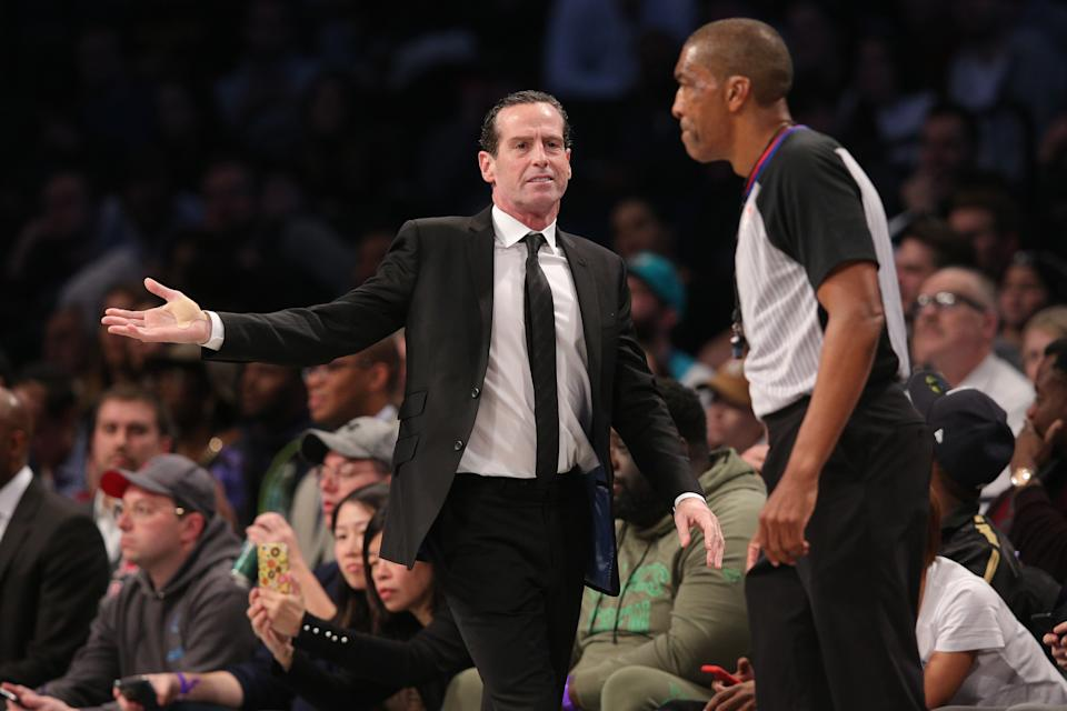 Dec 11, 2019; Brooklyn, NY, USA; Brooklyn Nets head coach Kenny Atkinson argues a call with official Leon Wood (40) during the fourth quarter against the Charlotte Hornets at Barclays Center. Mandatory Credit: Brad Penner-USA TODAY Sports
