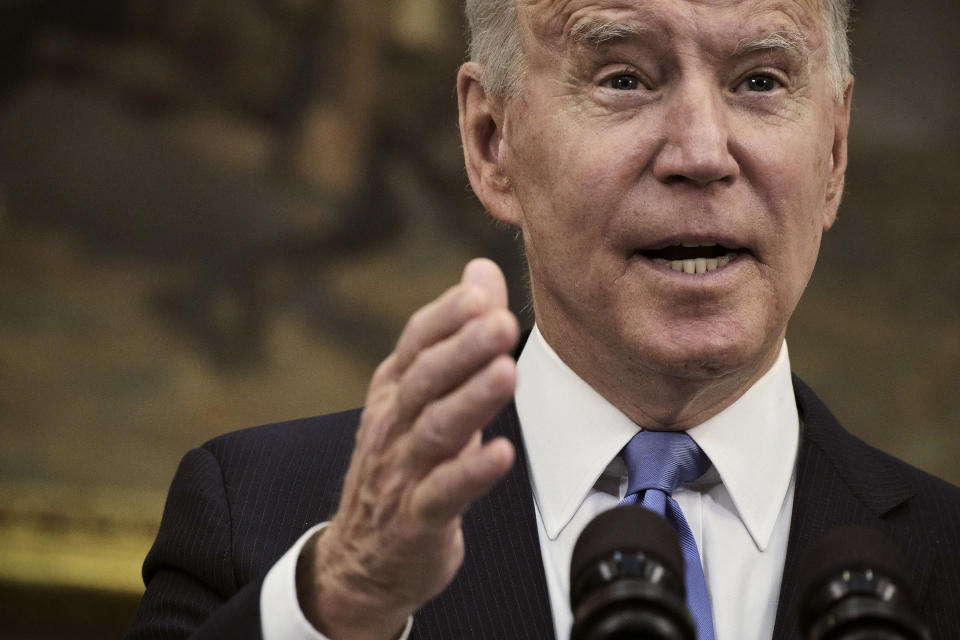President Joe Biden speaks about the Colonial Pipeline hack from the White House in Washington, May 13, 2021. (T.J. Kirkpatrick/The New York Times)